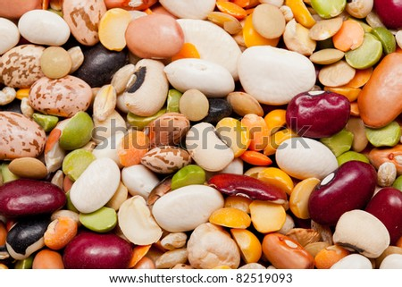 Macro shot of many different types of beans,peas and barley - stock photo
