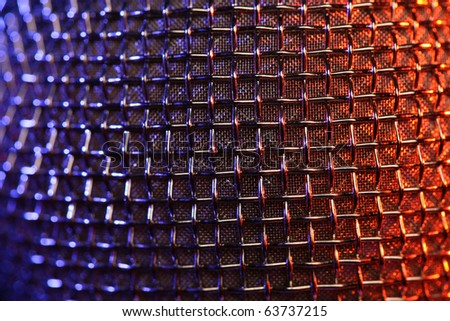 macro shot of microphone's texture - stock photo