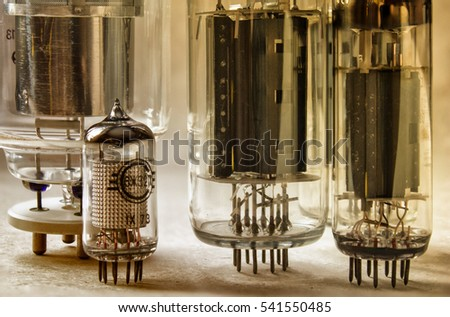 macro shot of old radio lamps in warm colors
