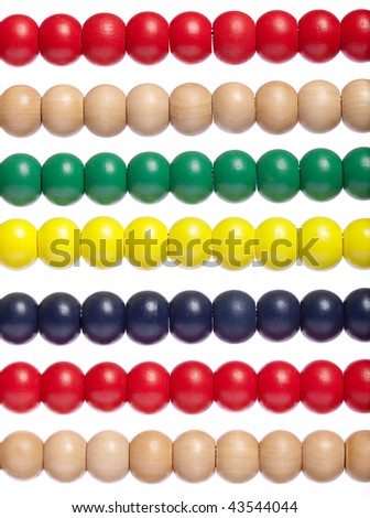 Macro shot of part of multi color abacus on white isolated