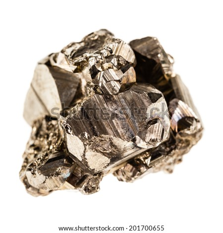 macro shot of pyrite mineral isolated over a pure white background - stock photo