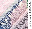 Macro shot of Schengen visa in passport - stock photo