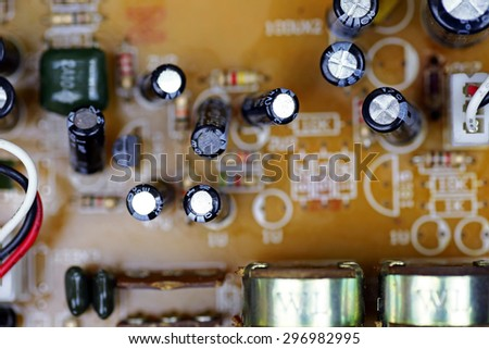 macro shot of the back side of a circuit board
