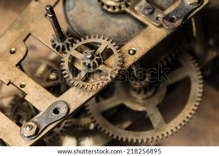 Macro shot of the clock mechanism. - stock photo