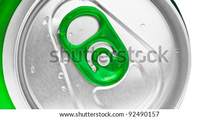 Macro shot of the top of a green beer or soft drink can - stock photo