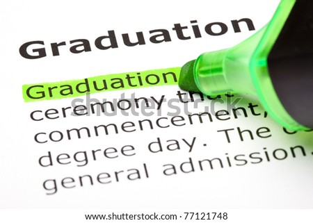Macro shot of the word 'Graduation' highlighted in green