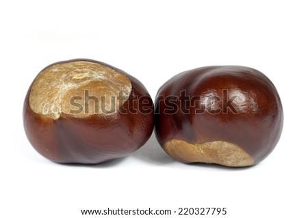 Macro Shot of Two Chestnut Isolated on White Background - stock photo