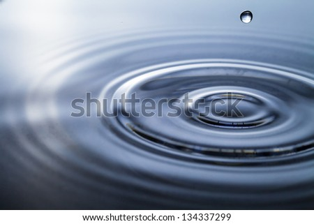 Macro shot of water circles - stock photo