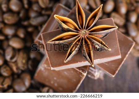 Macro shot to anise, chocolate and coffee beans - stock photo
