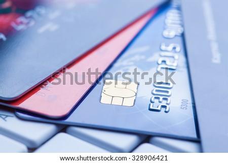 macro shot with credit card. - stock photo