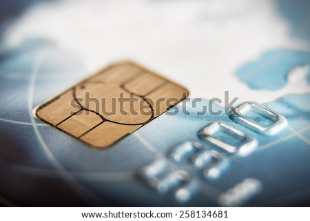 macro shot with old credit card. Very shallow depth of field - stock photo