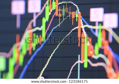 macro stock chart on monitor - stock photo