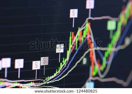 macro stock chart on monitor - stock photo