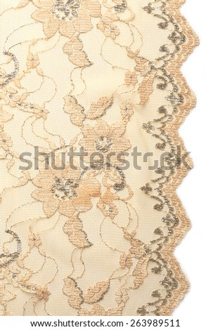 macro texture beige lace with embroidery studio - stock photo