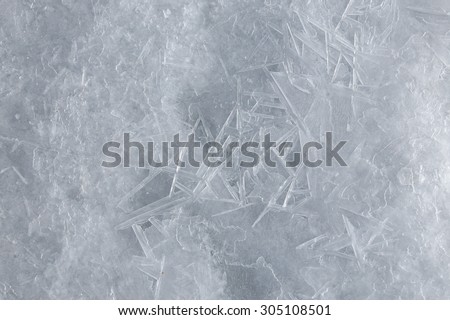 macro texture fancy ice on the river in winter - stock photo