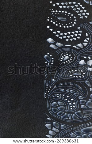 macro texture fragment beige lace leather studio - stock photo