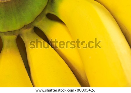 Macro view of a bunch of bananas