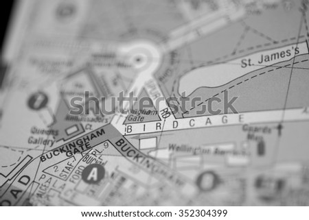 Macro view of a detailed London road map. (black and white)