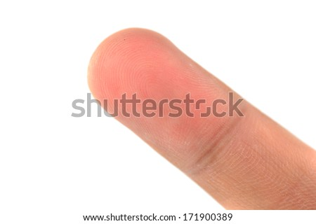 Macro view of a finger print on a human thumb over a white background  - stock photo