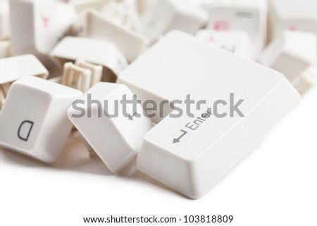 Macro view of a heap of keyboard - stock photo