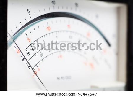 Macro view of analog electric meter dial - stock photo