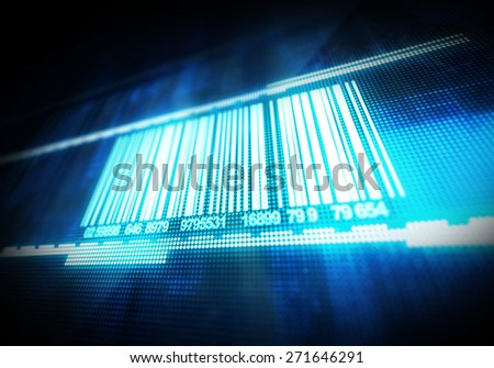 Macro view of bar code background - stock photo