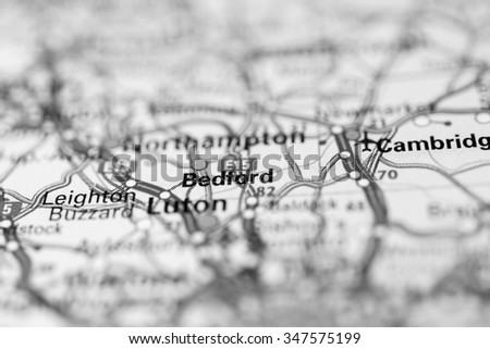 Macro view of Bedford, United Kingdom on map. - stock photo
