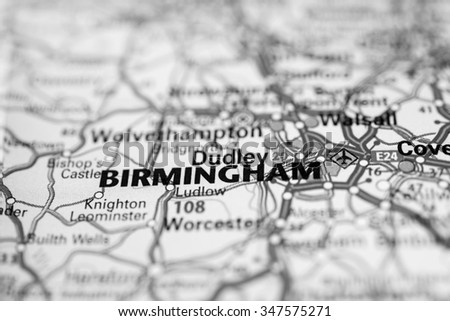Macro view of Birmingham, United Kingdom on map. - stock photo
