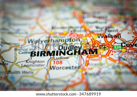 Macro view of Birmingham, United Kingdom on map. (vignette) - stock photo