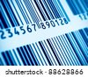 Macro view of blue barcodes - stock photo