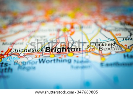 Macro view of Brighton, United Kingdom on map. (vignette) - stock photo