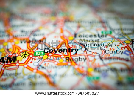 Macro view of Coventry, United Kingdom on map. (vignette) - stock photo