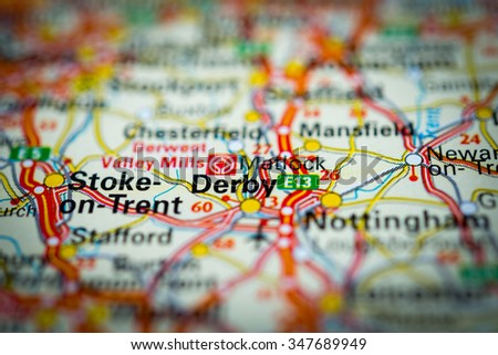Macro view of Derby, United Kingdom on map. (vignette) - stock photo