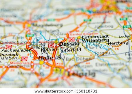 Macro View Dessau Germany On Map Stock Photo 350118731 Shutterstock