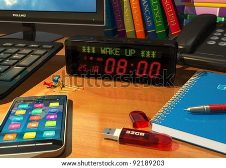 Macro view of digital alarm clock on table with wake up message - stock photo