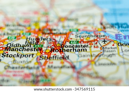 Macro view of Doncaster, United Kingdom on map. - stock photo
