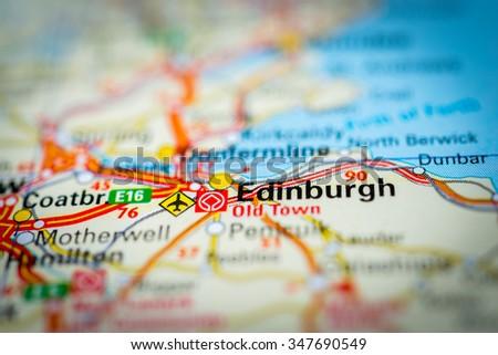 Macro view of Edinburgh, United Kingdom on map. (vignette) - stock photo