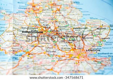 Macro view of England, United Kingdom on map. - stock photo