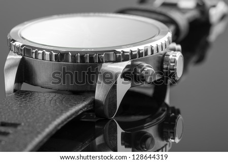 Macro view of expensive watch - stock photo