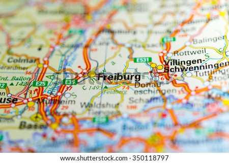 Macro View Freiburg Germany On Map Stock Photo Royalty Free