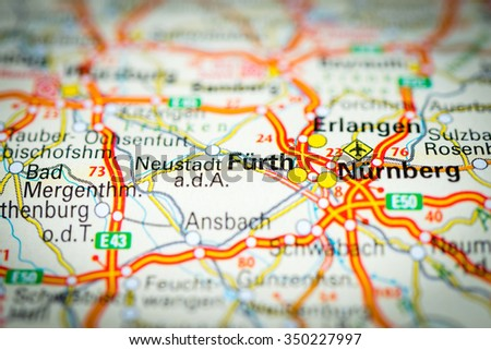 Macro View Furth Germany On Map Stock Photo 350227997 Shutterstock