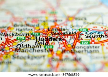 Macro view of Huddersfield, United Kingdom on map. - stock photo