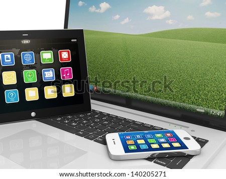 Macro view of Laptop, Smart Phone and Tablet PC isolated on white background - stock photo