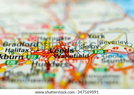Macro view of Leeds, United Kingdom on map. - stock photo