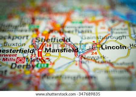 Macro view of Mansfield, United Kingdom on map. (vignette) - stock photo
