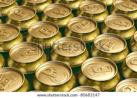 Macro view of metal drink cans with beer - stock photo