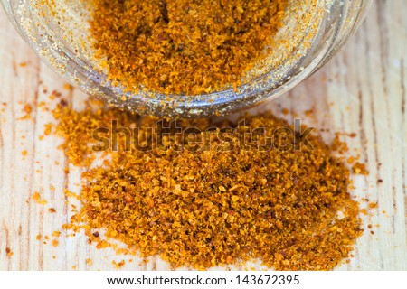 macro view of milled cayenne pepper spilled from glass jar - stock photo