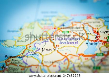 Macro view of Northern Ireland, United Kingdom on map. (vignette) - stock photo