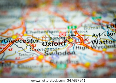 Macro view of Oxford, United Kingdom on map. (vignette) - stock photo