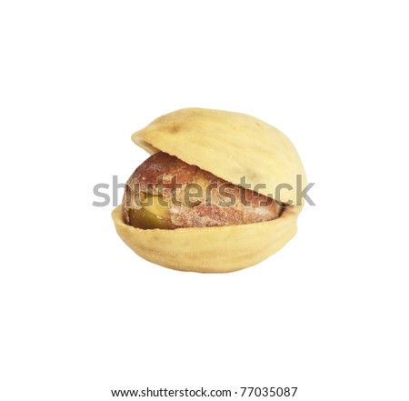 Macro view of pistachio isolated over white